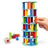 Coogam Wooden Tower Stacking Game, Fine Motor Skill Building Blocks with Dice Toppling Leaning Tower Toy Montessori Family Party Games for Kids and Adults