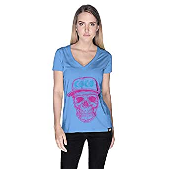 Creo Pink Blue Coco Skull T-Shirt For Women - M, Blue