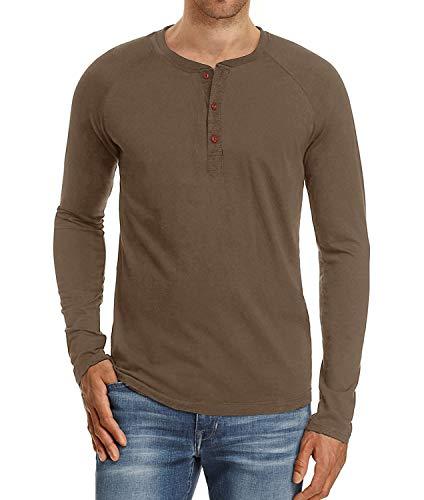 Satankud Mens Casual Loose Fit Long Sleeve Henley T-Shirts Cotton Shirts Brown XL