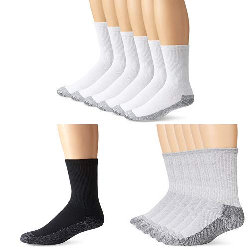 Fruit of the Loom Men's Heavy Duty Reinforced Cushion Full Crew Socks, White/Black/Gray, Shoe Size: 6-12