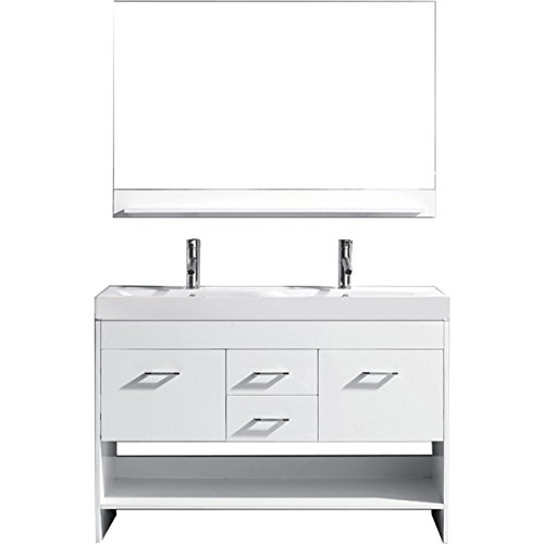 Virtu USA MD-423-C-WH-001 GLORIA 48' Double Bathroom Vanity with Ceramic Top and Square Sink with Brushed Nickel Faucet and Mirror, White