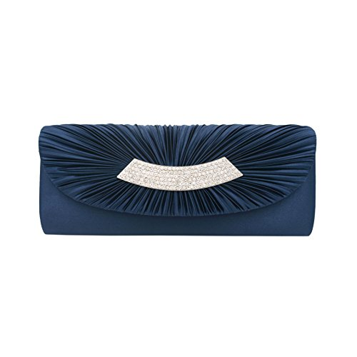 Diff Flap Clutch Satin Colors Navy Evening Avail Bag Elegant Crystal Pleated ag010