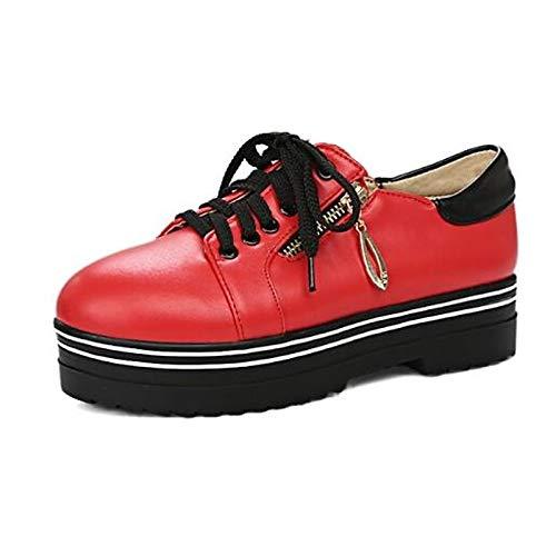 Creepers Zapatos pie del ZHZNVX Rojo Cerrado de Red Deporte Negro Primavera Mujer PU de Verano Poliuretano del Confort Blanco Zapatillas Dedo PwdwOq
