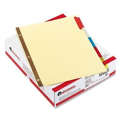 Universal 20860 Extended Insert Indexes, Assorted Color 5-Tab, Letter, Buff (Box of 24 Sets)