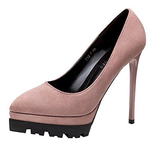 T&Mates Womens Classic Versatile Suede Pointed Toe Stiletto High Heel Slip-on Platform Pumps Shoes (7 B(M)US,Khaki)
