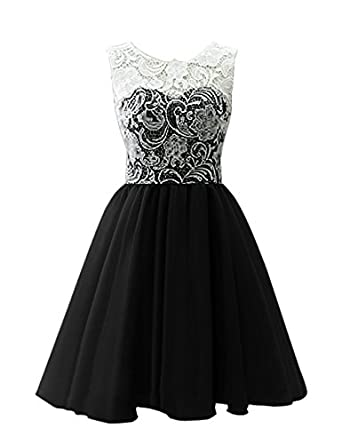 JY Women's Ruched Sleeveless Lace Short Party Dresses