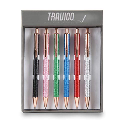 (Travigo 6-Piece Glitter Ballpoint Click-Action Pen Set | Smooth Glitter Adhesive Paper | Copper Trim Accents | Specially Designed Gift Box)