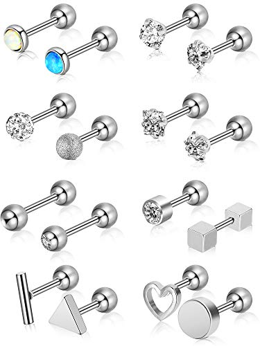 - Chuangdi 16 Pieces 16 G Stainless Steel Nose Studs Tragus Labret Nose Lips Piercing Assorted Design Piercing Jewelry for Women (Steel)