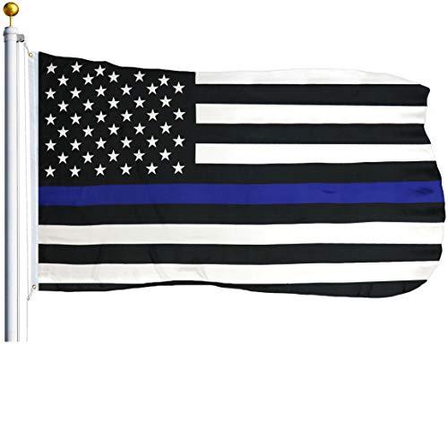 G128 - Thin Blue Line Flag | 3x5 feet | Printed - Blue Stripe, Black & White Flag, Vibrant Colors, Brass Grommets, Quality Polyester -