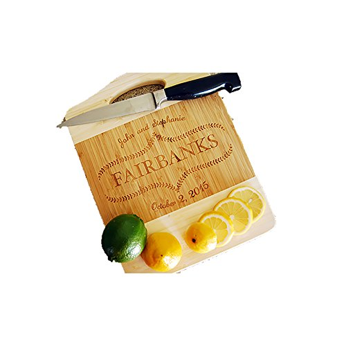 Personalized Engraved/Custom Bamboo Wood Cutting/Carving Board, Housewarming Gifts, Wedding Present, Anniversary Gift. (Small Cutting Board) (Fairbanks House)