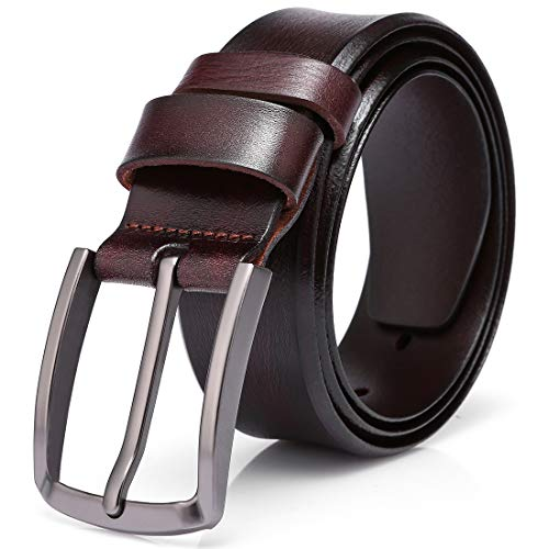 Men's 100% Italian Cow Leather Belt (Burgundy-1003,125CM (waistline:39-43 inch))