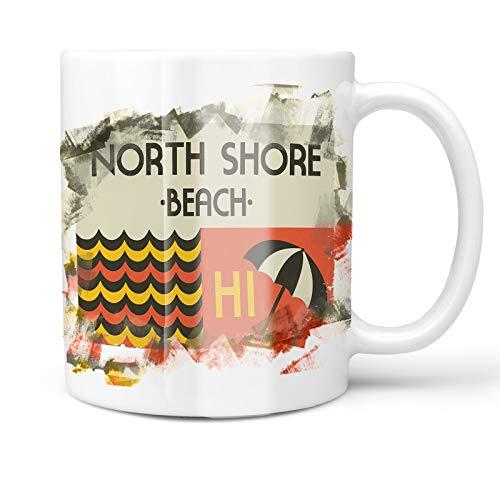 North Shore Monogram - Neonblond 11oz Coffee Mug US Beaches Retro North Shore Beach with your Custom Name