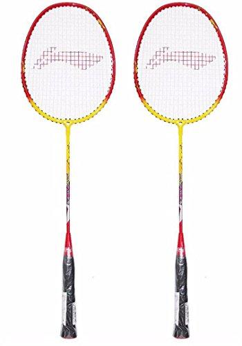 Li Ning Smash XP 807 Strung Badminton Racquet  Set of 2  Yellow/Red