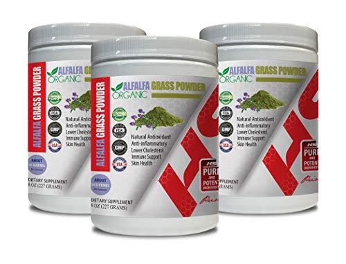 antioxidant Supplement Fertility - Alfalfa Grass Powder Organic - Organic Alfalfa Vitamin - 3 Cans 24 OZ (168 Servings)