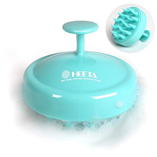 (Heeta Hair Scalp Massager, Wet and Dry Shampoo Brush Scalp Massage Brush with Soft Silicone Rubber Hair Brush for Women, Men, Pet (Green))