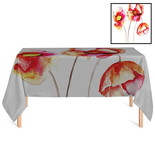 SATVSHOP Tablecloth Outdoor/indoorUse,/55x55 Square,Poppy Watercolors Vibrant Poppies Graphic Peace and Death Symbol Flower Sedative Plant rative Red White.for Wedding/Banquet/Restaurant. (Batman A Death In The Family Value)