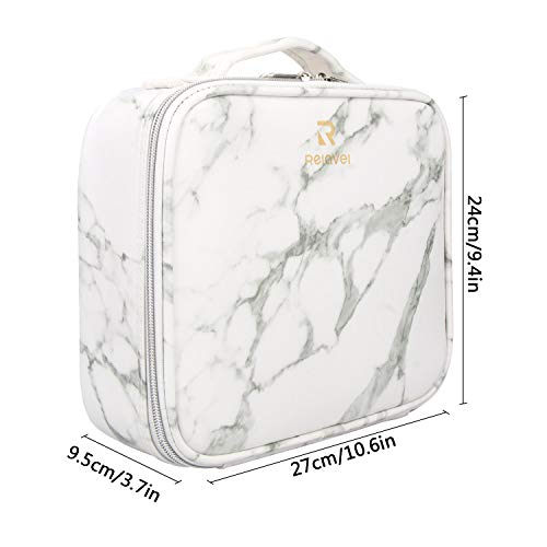 c6decb71e490 Relavel Travel Makeup Train Case Makeup Cosmetic Case Organizer Portable  Artist Storage Bag 10.3'' with Adjustable Dividers for Cosmetics Makeup ...