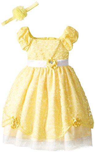 Disney Little Girls' Princess Belle Dress with Matching Headband, Yellow, 4T -