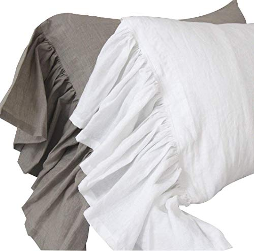 Queen's House Linen Pillowcases King Size White Shams Pillow Covers Set of 2-White - Sham Linen King