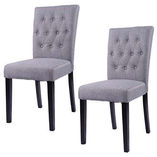 Giantex Giantex Set of 2 Button-tufted Fabric Dining Chairs Armless Upholstered Chair (Armless Dining Set)