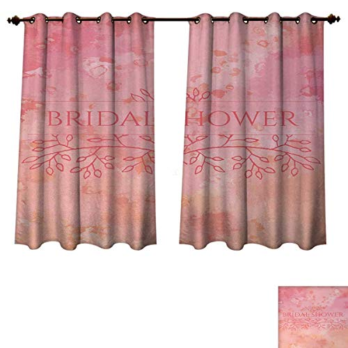 Anzhouqux Bridal Shower Blackout Thermal Curtain Panel Bride Invitation Grunge Abstract Backdrop Floral Design Print Patterned Drape for Glass Door Light Pink and Salmon W72 x L45 -