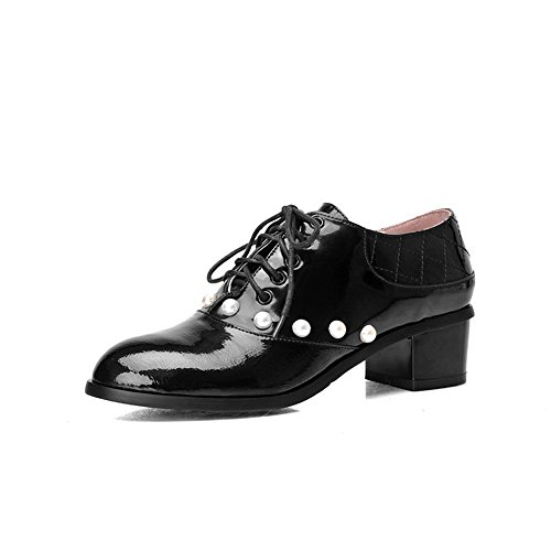 VogueZone009 Women's Lace-up Round Closed Toe Kitten-Heels Blend Materials Solid Pumps-Shoes Black 3uqgnv5ZP
