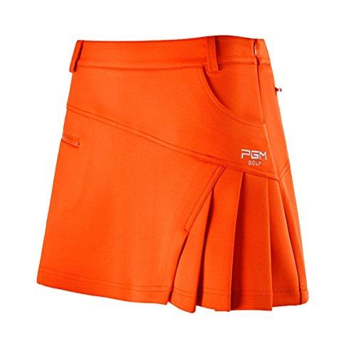 Kayiyasu スカート レディース ゴルフウェア 見せパン付き 女性 ミニスカート 夏 021-xsty-qz012(S オレンジ)