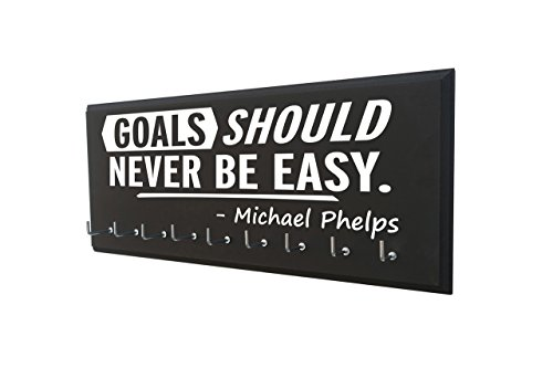 RunningontheWall Swimming Medal Display, Swimming Gifts for Teens Goals Should Never BE Easy -Michael Phelps Swimmer Medal Holder, Swimming Ribbon Holder