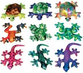 Colorful Glitter Sand Animals Toss Toy, Set of 3 (Turtle, Frog, Gecko) - Sand Animal