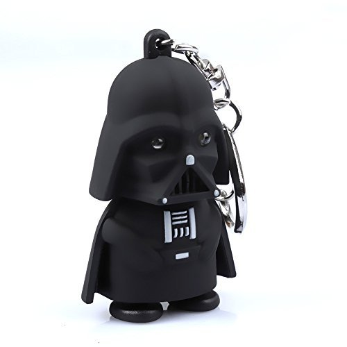 Cartoon Keychain - Black Knight Darth Vader Cartoon LED Keychain with Sound Key Ring Pendant Toy