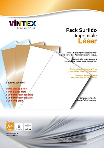 Vinilo Adhesivo Imprimible Premium Surtido para Impresora Láser ...