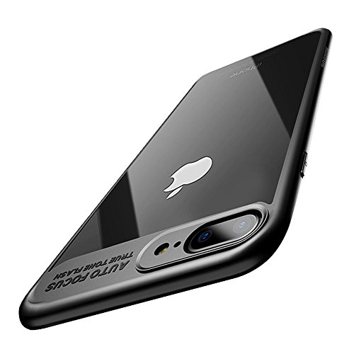 iPhone 8 Plus Case, iPhone 7 Plus Case, Baseus Tough PC and Flexible TPU Ultra Slim Clear Case Premium Hybrid Protective Cover for Apple iPhone 8 / 7 Plus (Black)