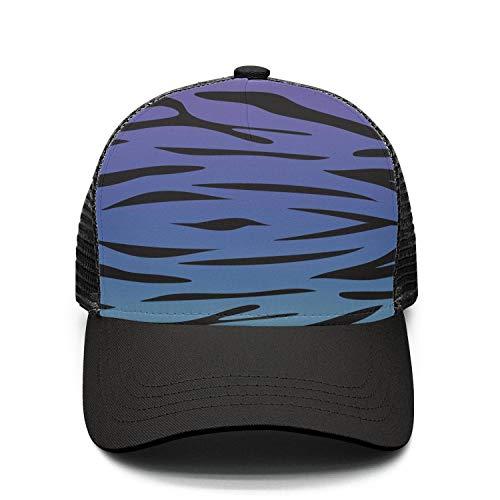 (Kukuzql Purple Blue Green Camouflage Zebra Stripes Adjustable Printing Snapback Mesh Hat Unisex Adult Baseball Hats & Caps)