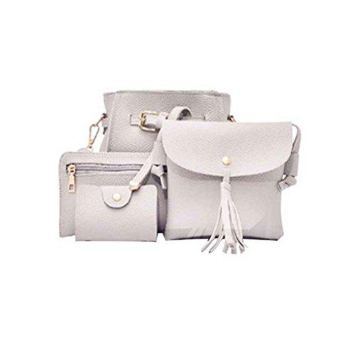 Chilie 4pcs / set Bolsas compuestas de cubo de las mujeres Solid Pu Leather Small Messenger Bags Purse Wallet Set marrón amarillento gris claro