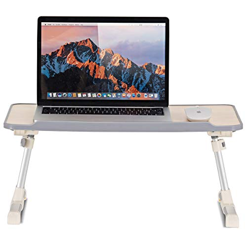 Tangkula Adjustable Laptop Table, Portable Standing Bed Desk with Foldable Legs, Notebook Stand Reading Holder for Couch & Floor Sofa Breakfast Tray, Computer Riser, Outdoor Camping Table (Silver)