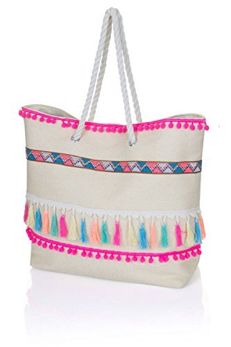 Tote Beach Pom Ladies Large Pom Shoulder Shopper Canvas Womens Handbag Bag Cream 5HPTnYnW