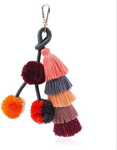 秋冬シリーズカラフルなボホール袋チャームペンダントキーホルダー車のキーリング女性のためのファッションアクセサリー女の子の財布のハンドバッグトートバックパックの携帯電話の装飾 花が咲く