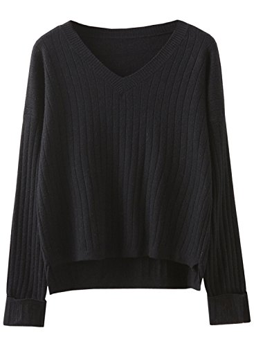 Futurino Women's Ripped Solid Color V Neck Knit Long Sleeve Pullover Sweater Top (XS/S, Black) - V-neck All Over Cable Sweater