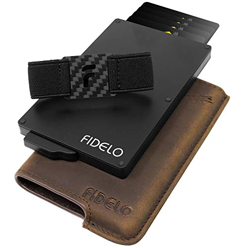 FIDELO Minimalist Wallet for Men - Slim Credit Card Holder RFID Mens Wallets and Leather Case