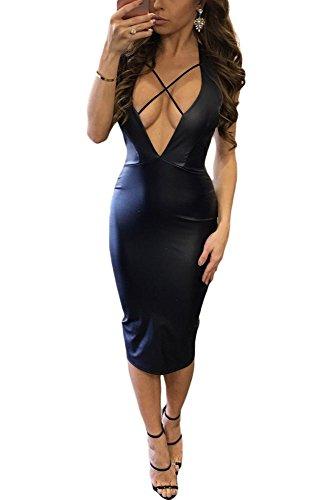 Neuf pour femmes simili cuir noir décolleté plongeant et dos ouvert Robe midi Club Robe d'été Casual Party Robe taille M UK 10–12–EU 38–40