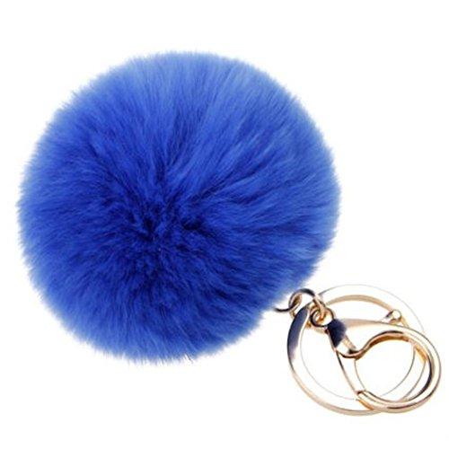 SUPPION Furry Metal Pompom Ball Keychain Bag Plush Car Key Ring Pendant -