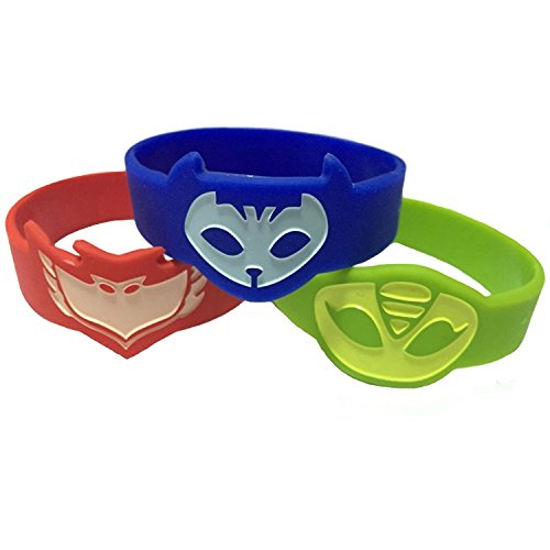 PJ Mask Themed Wrist Band For Kids Set of 3 Catboy Owlette Gekko Costume (Cute Little Girl Halloween Costumes)