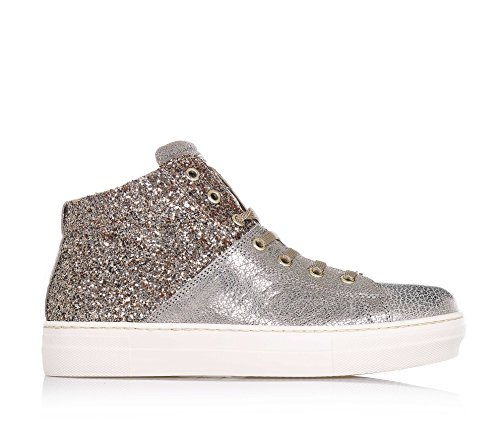 LIU JO - Goldener Sneaker mit Schnürsenkeln, aus Leder und Glitzern, seitlich ein Reißverschluss, Logo auf der Zunge, sichtbare Nähte, Mädchen, Damen