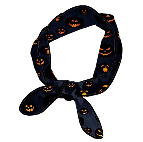 L Wright-King Women's Halloween Pumpkin Patterns Print Small Neck Scarves Neckerchief -