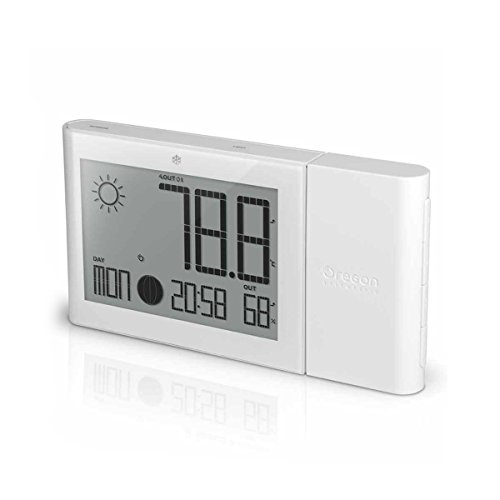 Oregon Scientific Weather Station with Indoor/Outdoor Temp and Humidity Atomic Clock BAR268GH (White)