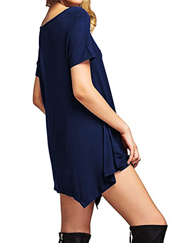 Midi Short Dress T Swing Dresses Trends American Flowy Casual Sleeve Short Summer Navy Womens Sleeve Shirt Tunics qw7wv