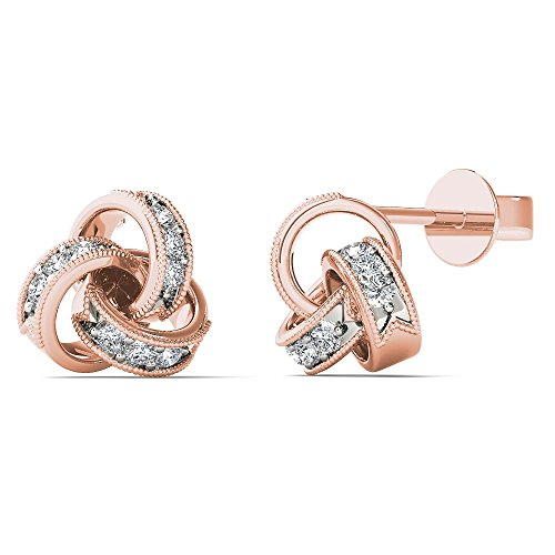 JewelAngel Women's 10K Rose Gold Diamond Accent Love Knot Stud Earrings (H-I, (10k I1 Earrings)