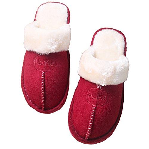 Chaussons en coton couple accueil hiver chaussons peluche hiver femelle accueil intérieur étanche épais plancher antidérapant chaussons hommes et ,40-41 (recommandations 37-38 pied usure, oreilles ros