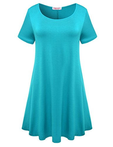 Lake Short Sleeve Shirt - BELAROI Womens Comfy Swing Tunic Short Sleeve Solid T-Shirt Dress (1X, Lake Blue)