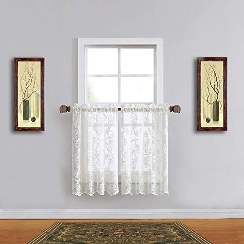 - Warm Home Designs Pair of 30 Inches Wide x 36 Inches Long Ivory Color Knitted Lace Kitchen Tier Curtains with Charming Flower Pattern. Add Swags & Valance For Ultimate Elegant Look. FI Ivory Tiers 36